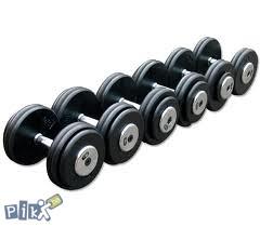 Bučice metalne-gumirane, set utega od 2,5 kg - 40 kg