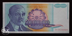YU - 500 miliona - 1993 - aUNC - ZA
